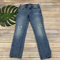 J.Crew Womens Broken In Boyfriend Jeans Size 26 Distressed Medium Wash Ripped