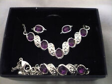 New Avon necklace bracelet & earring set purple & clear rhinestones silver tone