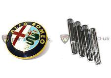 Alfa Romeo 156 logotipo Frontal Parrilla Insignia 60596492 & Chrome efecto Cerradura De Puerta Pins