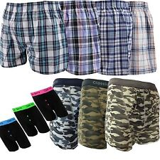 6 or 12 Pairs Mens Woven Boxer Army Shorts Cotton Rich Underwear Briefs S M L XL