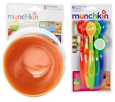 Munchkin Multi Bowl 5-Pack Set with 6-Pack Soft-Tip Infant Spoons Bright Colors