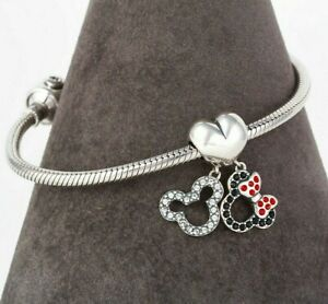Disney Mickey & Minnie Silhouettes Heart Pendant Charm Sterling Silver S925
