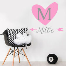 Custom Baby Girl Name Heart Personalise Bedroom Wall Sticker Nursery Decal Decor