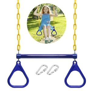 Trapeze Swing Bar Rings Chains Carabiners Set Outdoor Garden Playground Exercise