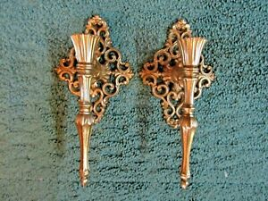 Set of 2 Vintage Mid Century Modern Ornate Gold Metal Wall Sconce Candle Holders