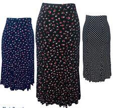 New Ladies Flower Elastic Waist Panel Godet Calf Midi Length Skirt Flared Summer