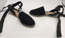 Loeffler Randall New 'Heloise' Suede & Leather Black Ankle-Wrap Espadrilles Sz 6