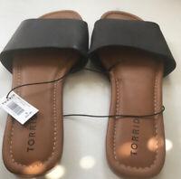 Torrid Leather Slide On Sandals Size 9 Wide NEW