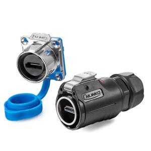 Industrial HDMI-Compatible 4k HD Waterproof M24 Data Plug Socket Panel Connector