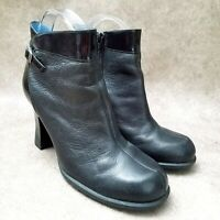 "Indigo by Clarks Womens 81325 Sz 8 M Black Leather 3.5"" Heeled Ankle Boot Bootie"