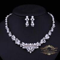 2 Tlg. Schmuckset Strass Perle Halskette Ohrringe Tropfen Brautschmuck Hochzeit