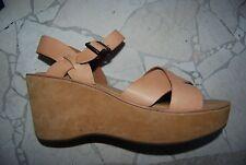 Light Brown Leather Platform Open Toe KORK EASE Tall Slingback Wedges 11