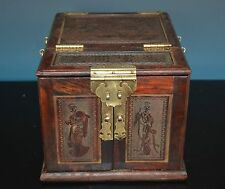 FINE CHINESE WOOD JEWLERY BOX WELL CARVED WITH MIRROR RARE