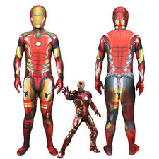 Avengers Endgame Iron Man Tony Stark Outfit Jumpsuit Cosplay Costume Adult Kids