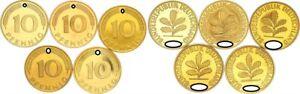 10 Pfennig 2001 A,D,f,g,J 5 Münzen komplett PP 56606