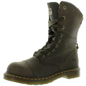 Dr. Martens Womens Leah St Leather Steel Toe Combat Boots Shoes BHFO 2587