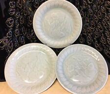 "China CELADON Green GOLDFISH Koi 7"" Ceramic Dish Plate Set Of 3"