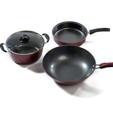 New listing Non-stick Kitchen Cookware Frying Pan Soup Pot Wok Set Cooking Cooker 3Pcs