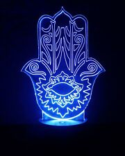 Hamsa Hand LED Night Light - Personalized FREE - 16 Color LED w/ Remote