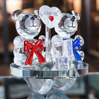 H&D Double Love Bears Crystal Figurine Roly-poly Ornament Crystal Glass Birthday
