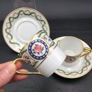 2 Tasses à Café Porcelaine Haviland Limoges Décor  Louvecienne Roses