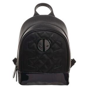 Marvel Comics Deadpool Quilted Black  Mini Knapsack Backpack PU Leather