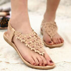 Bohemian Women Lady Sandals Flat Thong Shoes Summer T-Strap Slippers Flip Flops