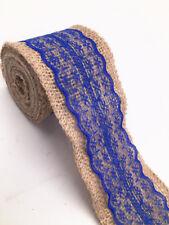 2m eter lace burlap ribbon natural width 6cm Vintage Wedding Party Deco blue2018