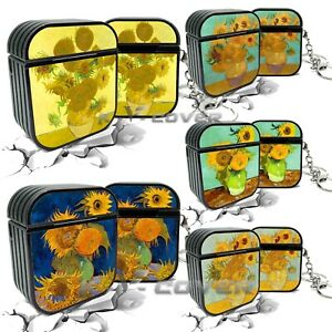 K-V Sunflowers Gogh Oil painting Keychain Protective cover For AirPods 1/2 case