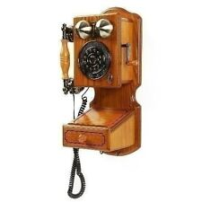 Wooden Wall Phone Antique Telephone Vintage Rotary Plate Kitchen Rustic Corded