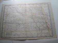 1898 CRAM'S RAILROAD MAP OF NORTH DAKOTA,  RAILROAD ATLAS MAP
