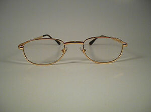 READING GLASSES FOSTER GRANT SPARE PAIR ---  GOLD ROUND LENS  ---  11