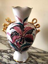 "Vintage Italy Porcelain 14"" Art Vase Double gold handles, #297/4751 Signed Paul'"