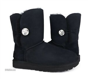 UGG Bailey Button Bling Black Boots Womens Size 8 *NIB*