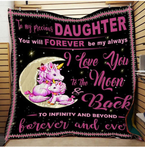 To my precious daughter, Forever and Ever, Unicorn Fleece, Quilt blanket USA