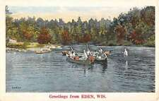 Eden Wisconsin Row Boat Waterfront Greeting Antique Postcard K64409