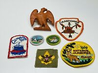 Vintage 1960s Boy Scout Lot - Camping Patches And Hankerchief Slide Holder