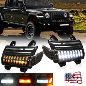 2018-21 for Jeep JL Rubicon LED Fender Daytime Running Turn Signal Lights Lamps