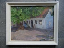Danish School Impressionist Oil Woman by a Cottage. Indistinctly Signed