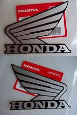 Honda Fuel Tank Wing Decal Wings Sticker x 2 SILVER/BLACK ** GENUINE HONDA **