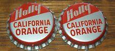 Lot of 2 Vintage Holly California Orange Unused Soda Pop Bottle Caps