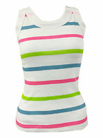 Ladies Sleeveless Bodycon Racer Back Muscle Vest Multi Stripe Womens Top 8-14