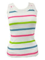 Ladies Sleeveless Bodycon Racer Back Muscle Vest Multi Stripe Womens Top 8-14
