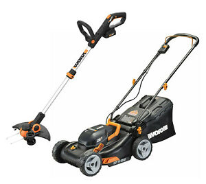 """WORX WG911 2X20V 17"""" Lawn Mower Powershare with 12"""" Cordless GT Trimmer & Edger"""