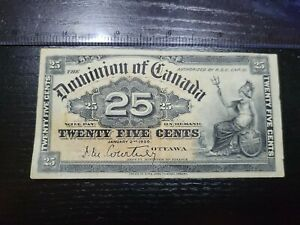 🇨🇦 Canada 25 cents 1900 P-9 (xf-ef) Paper Currency Banknote Money 101921-2