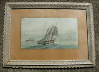1891 large W. HAGELBERG Chromo-Lithograph CLIPPER SAILING SHIP vs STEAMSHIP RACE