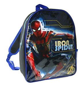 Marvel Spiderman Iron Spider Backpack Travel School Rucksack Boys Lunch Bag Kids