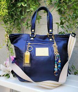 RARE COACH sapphire POPPY xl SPOTLIGHT Tote Shoulder Handbag purse satchel 15526