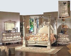 Mcferran B9097-EK Monaco Blanc King Size Canopy Bedroom Set 5 Pcs Classic