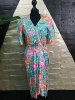 Original Vintage1980s Wallis Exclusives Midi Dress Sherbet Colours Size UK10